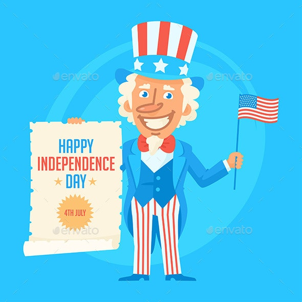Uncle Sam Holds Flag and Paper Scroll - People Characters