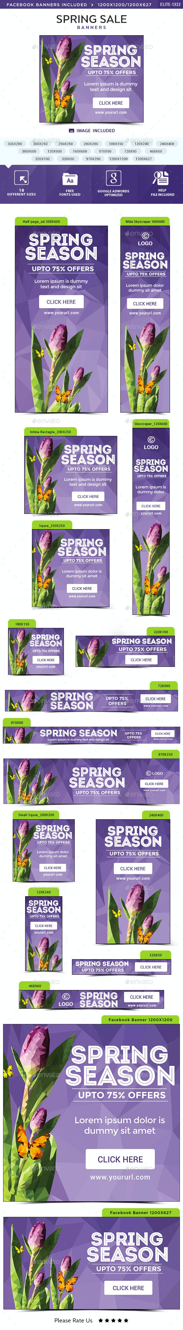 Spring Season Banners - Banners & Ads Web Elements