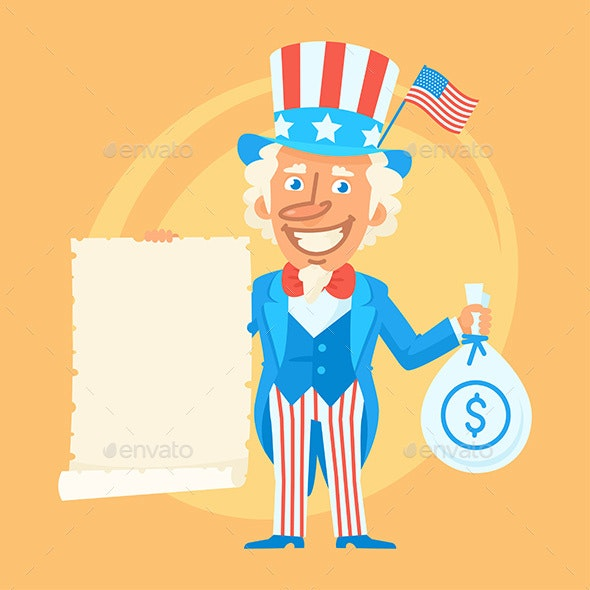 Uncle Sam Holds Scroll Paper and Money - People Characters
