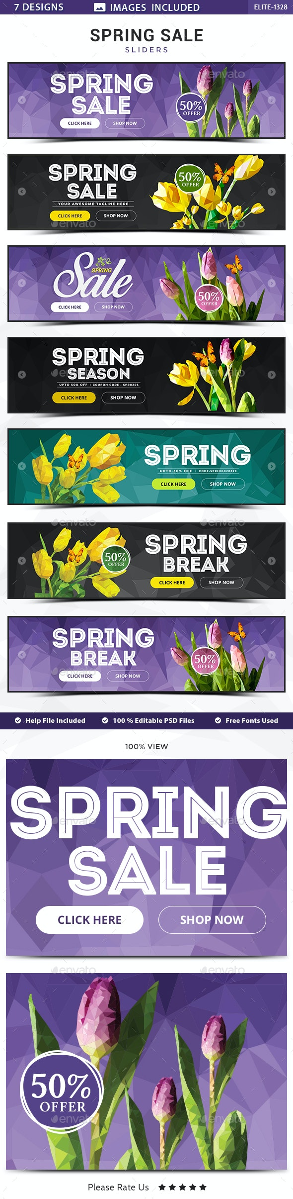 Spring Sale Sliders -  7 Designs - Sliders & Features Web Elements