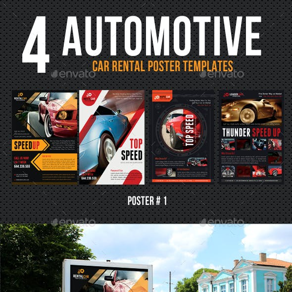 4 Automotive Car Rental Poster Bundle 02