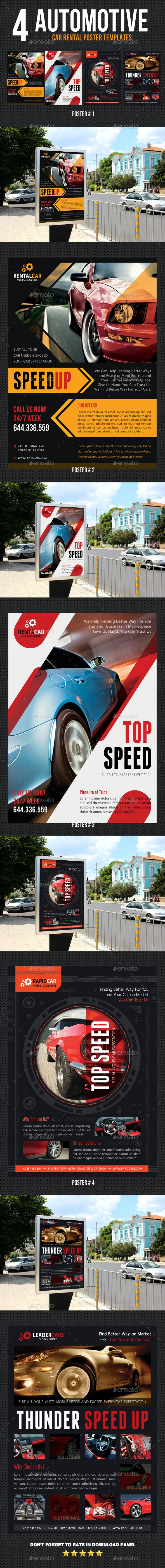 4 Automotive Car Rental Poster Bundle 02 - Signage Print Templates
