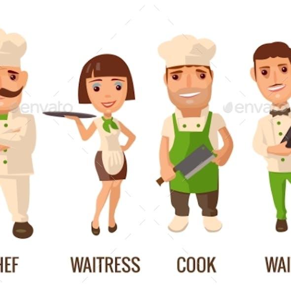 Restaurant Staff Icons Set