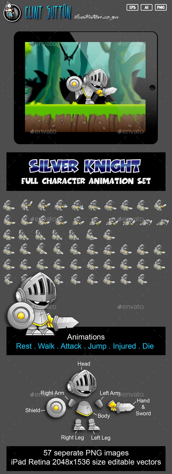 Knight Game Character Set - Sprites Game Assets