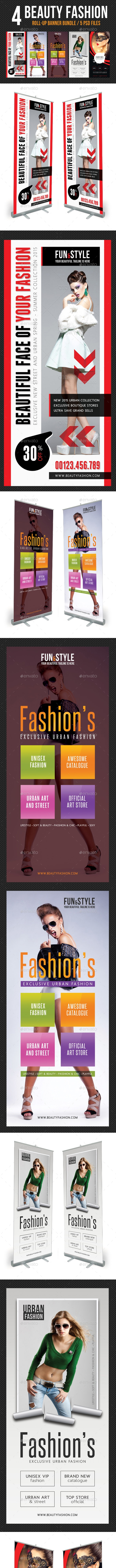 4 in 1 Beauty Fashion Banner Template Bundle - Signage Print Templates