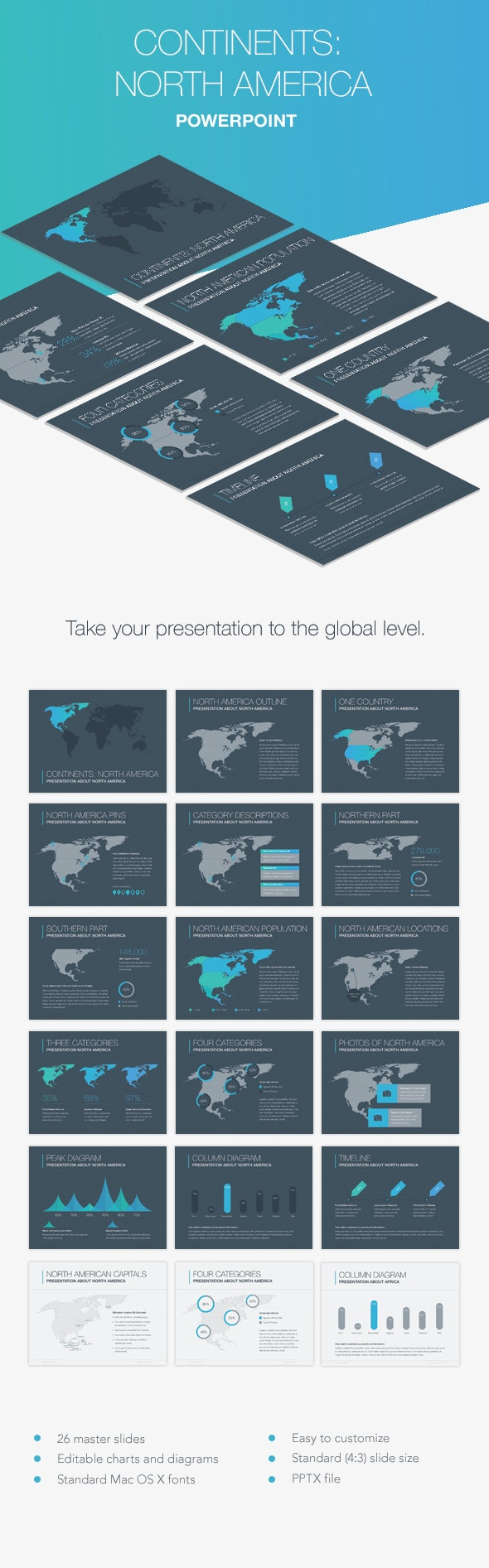 Continents: North America PowerPoint Template - Presentation Templates