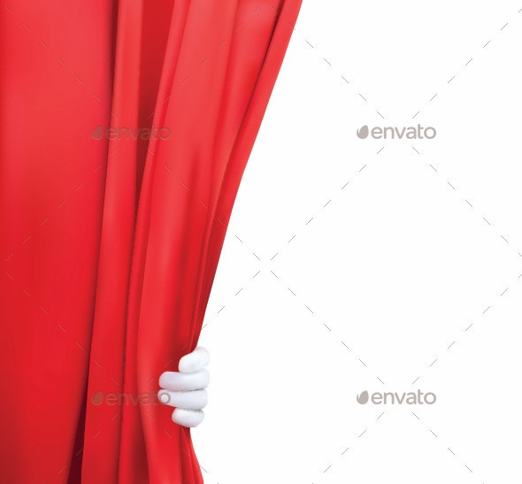 Background with Red Curtain and Hand - Backgrounds Decorative