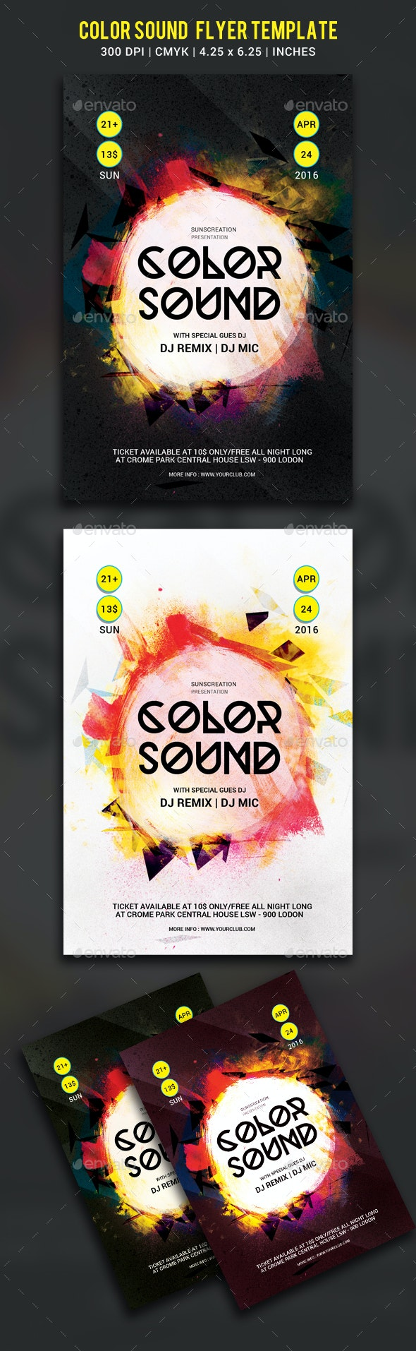 Color sound party flyer template - Clubs & Parties Events