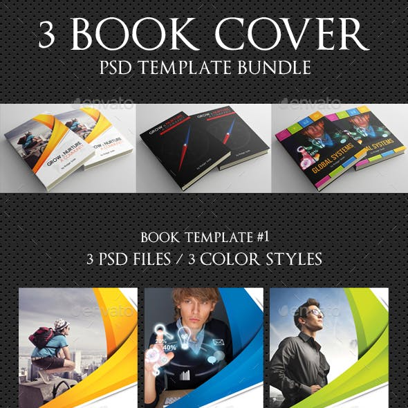 3 Corporate Book Cover Template Bundle