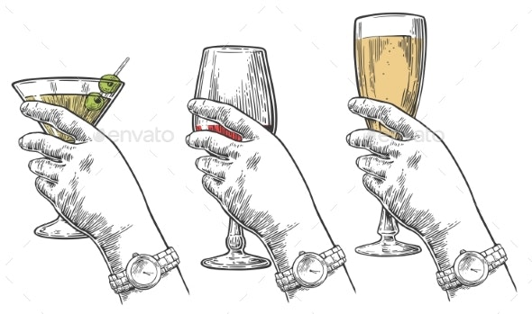 Female Hand Holding Alcohol - Food Objects