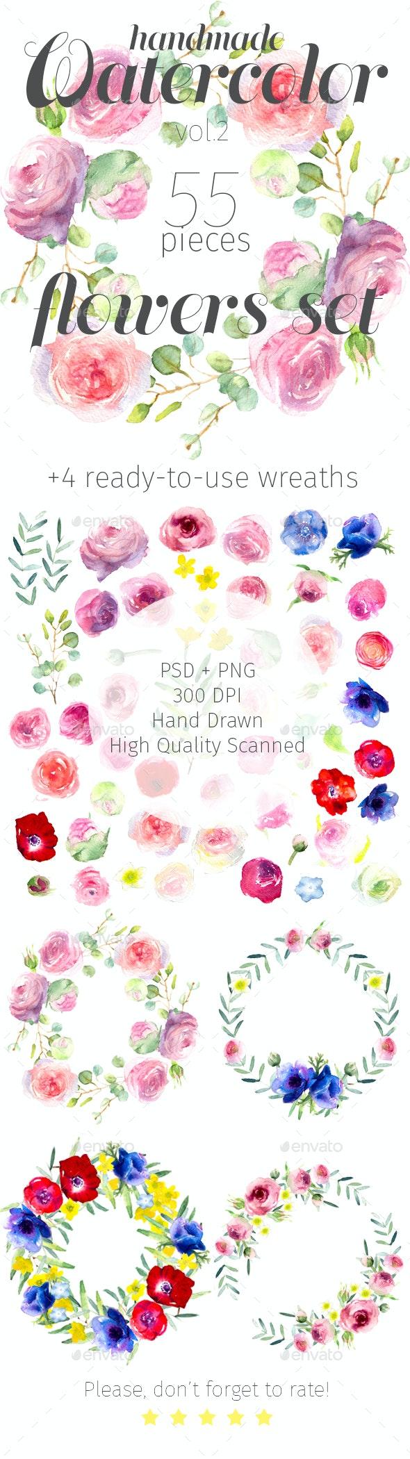Watercolor Flowers Set - Flourishes / Swirls Decorative