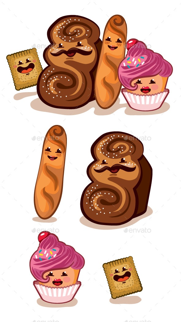 Happy Pastry Family - Food Objects