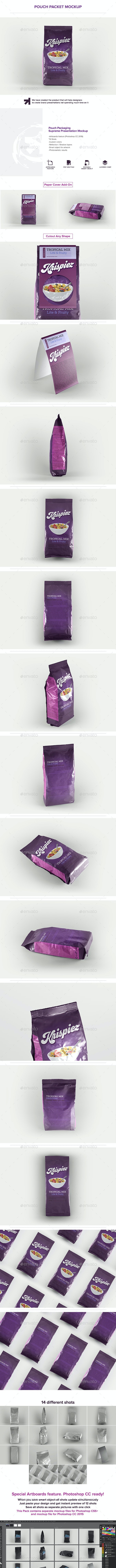 Pouch Packet Packaging Mockup - Food and Drink Packaging