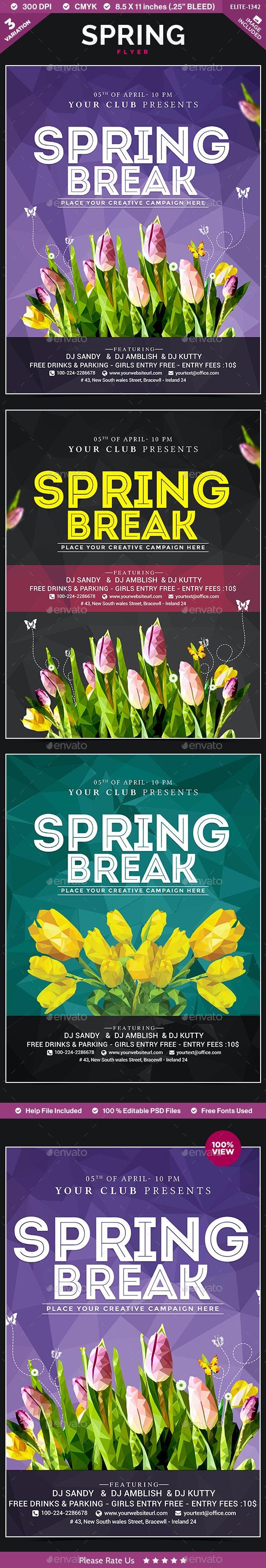 Spring Flyer - 3 Templates - Flyers Print Templates