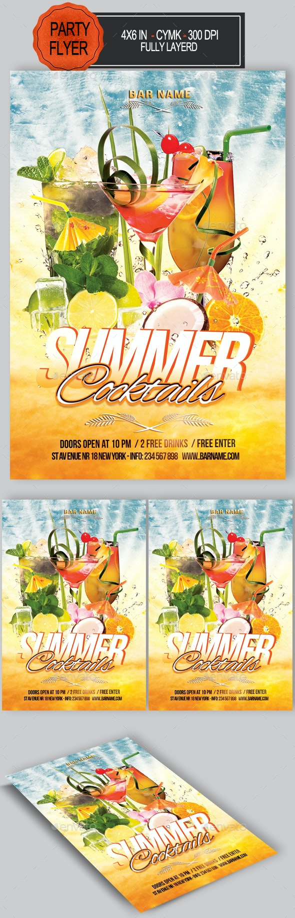 Summer Cocktail Flyer - Clubs & Parties Events