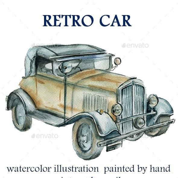 Retro Car Watercolor