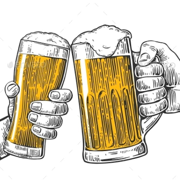 Two Hands Holding and Clinking with Two Beer