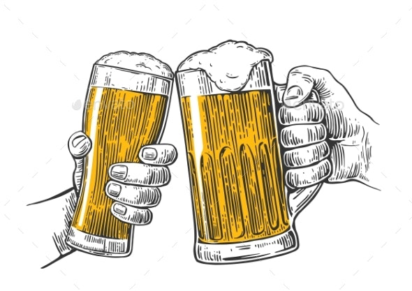 Two Hands Holding and Clinking with Two Beer - Miscellaneous Vectors
