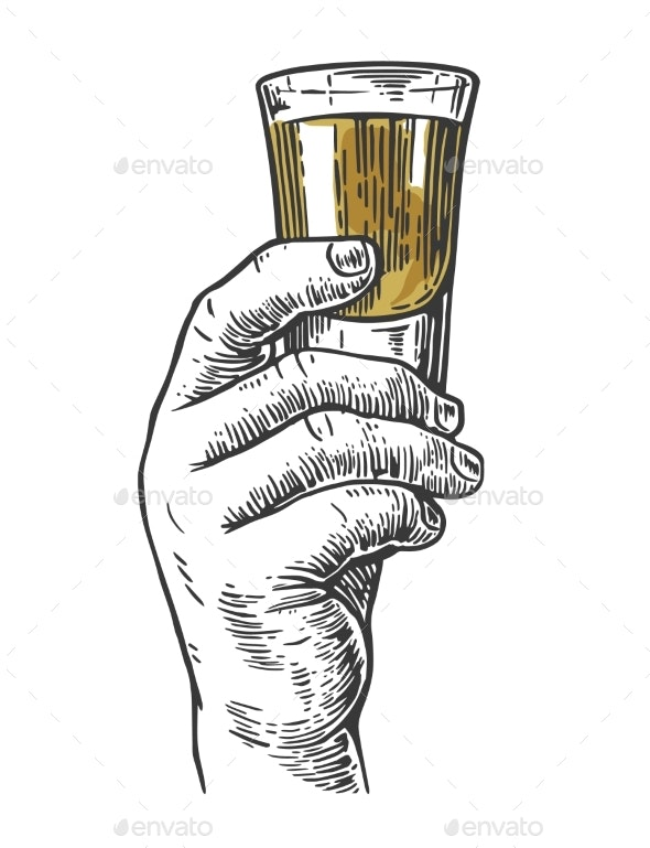 Male Hand Holding a Shot of Alcohol Drink - Food Objects