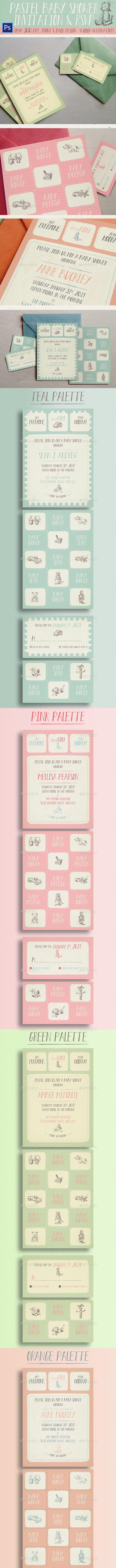 Pastel Baby Shower Invitation - Cards & Invites Print Templates