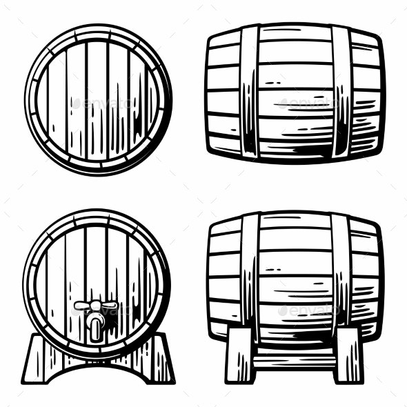 Wooden Barrel Set Engraving - Food Objects