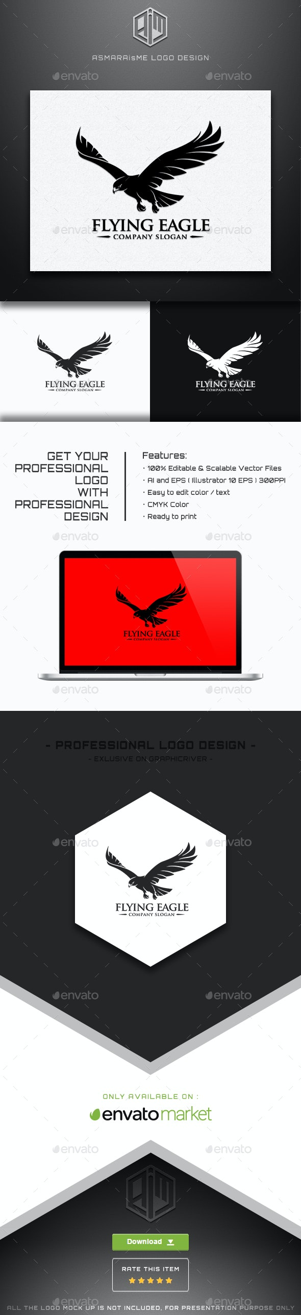 Flying Eagle Logo Template - Animals Logo Templates