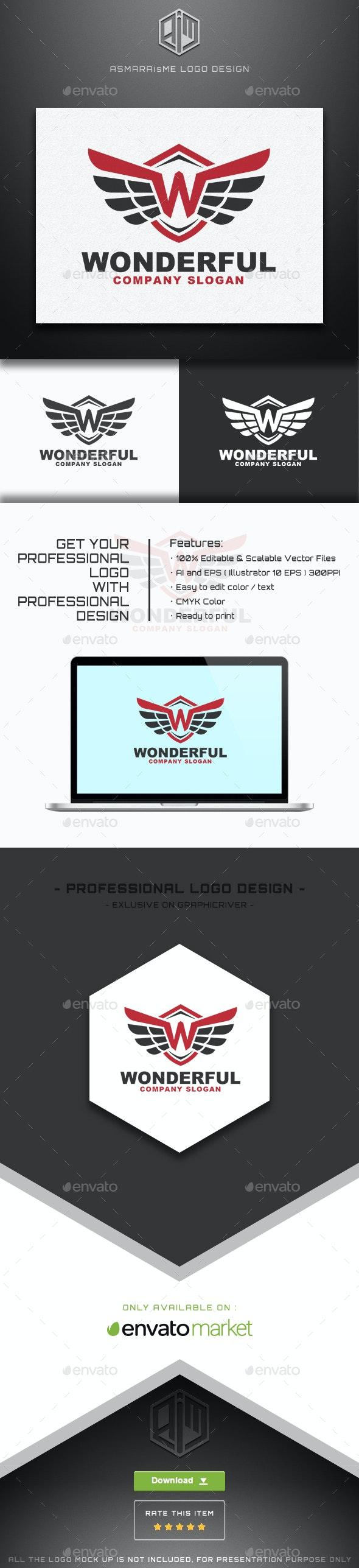 Wonderful - Letter W / Wing Logo - Letters Logo Templates