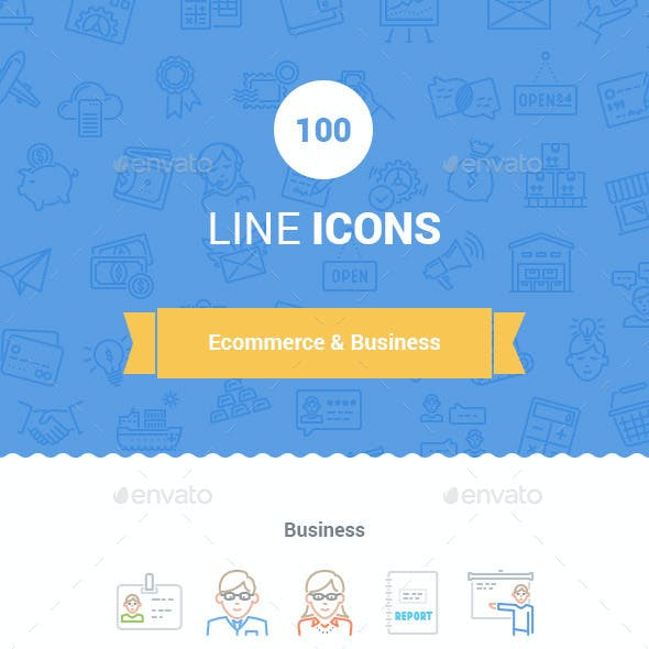 100 E-commerce Line Icons