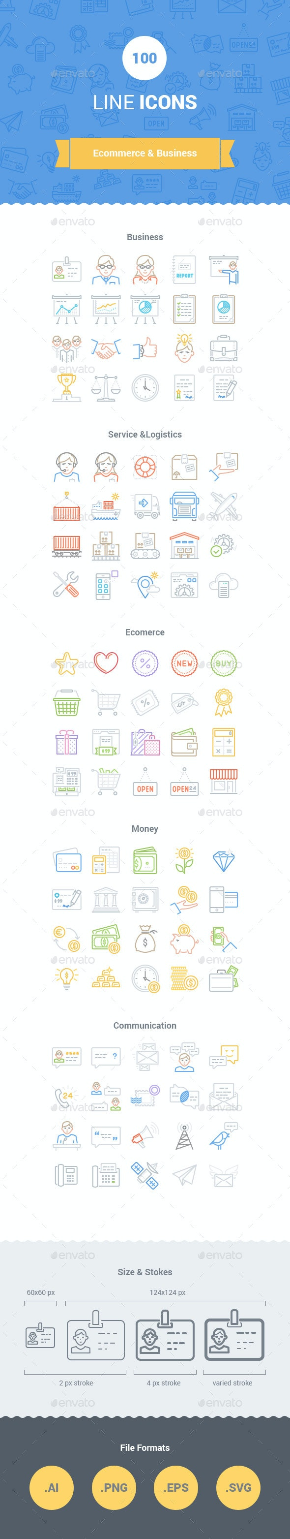 100 E-commerce Line Icons - Business Icons