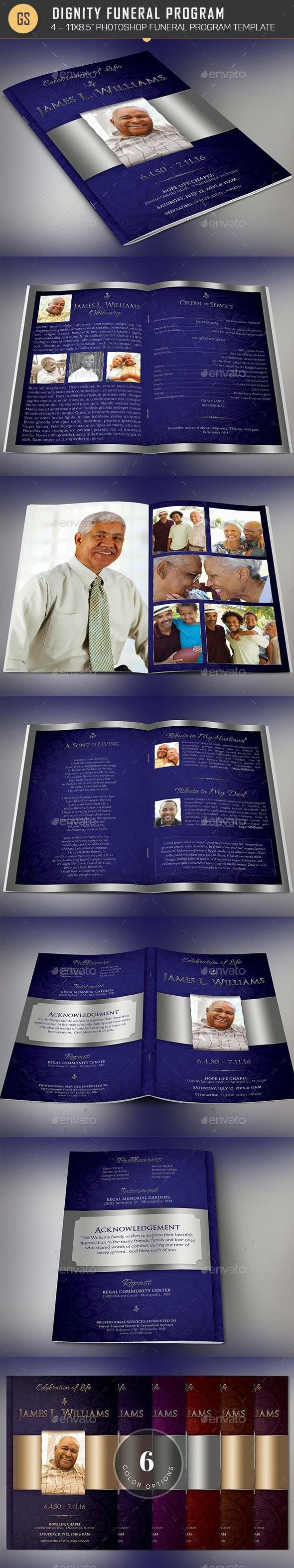 Dignity Funeral Program Photoshop Template - Informational Brochures
