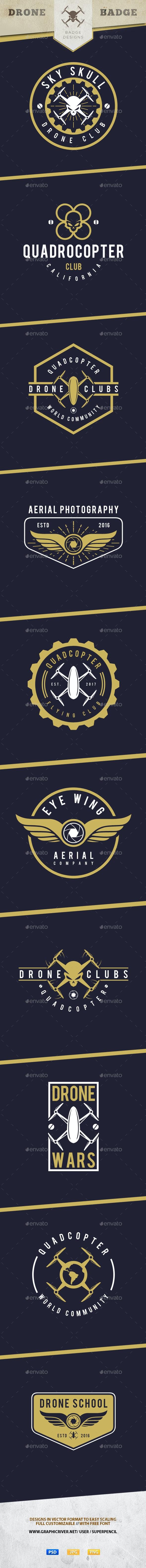 10 Drone Badges  - Badges & Stickers Web Elements