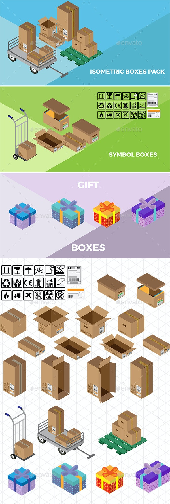 Isometric Boxes Pack - Man-made Objects Objects