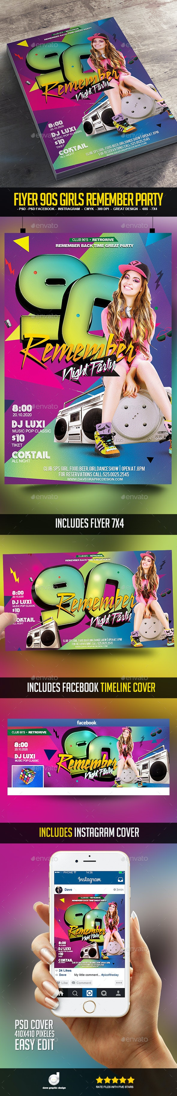 Flyer 90's Girls Remember Party - Clubs & Parties Events