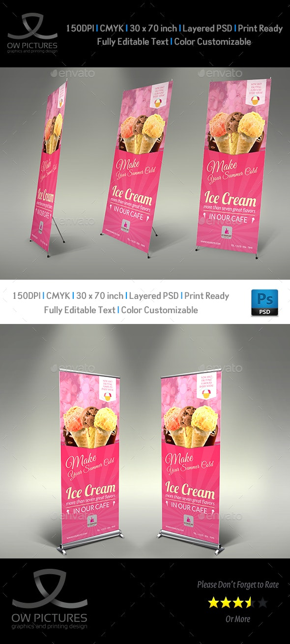 Ice Cream Rollup Signage Template Vol.4 - Signage Print Templates