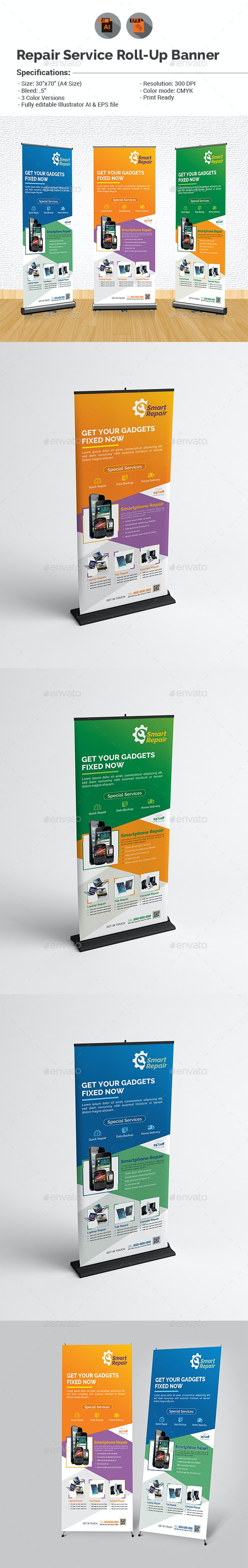 Repair Service Roll-up Banner Template - Signage Print Templates