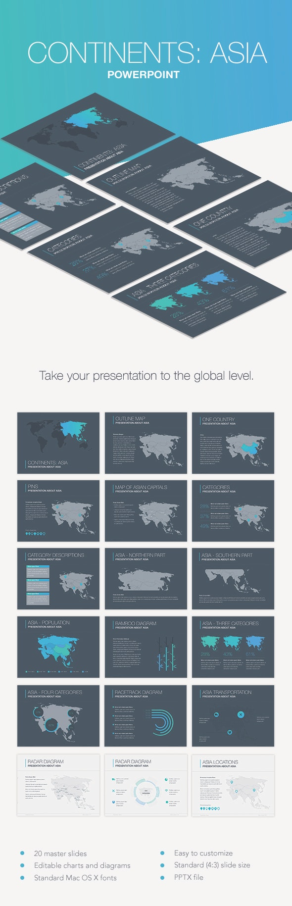 Continents: Asia PowerPoint Template - Keynote Templates Presentation Templates