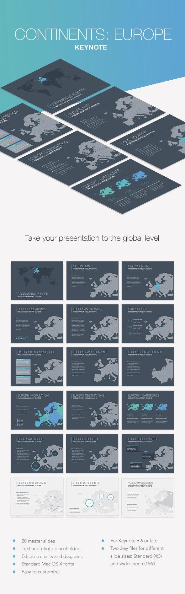 Continents: Europe Keynote Template - Keynote Templates Presentation Templates