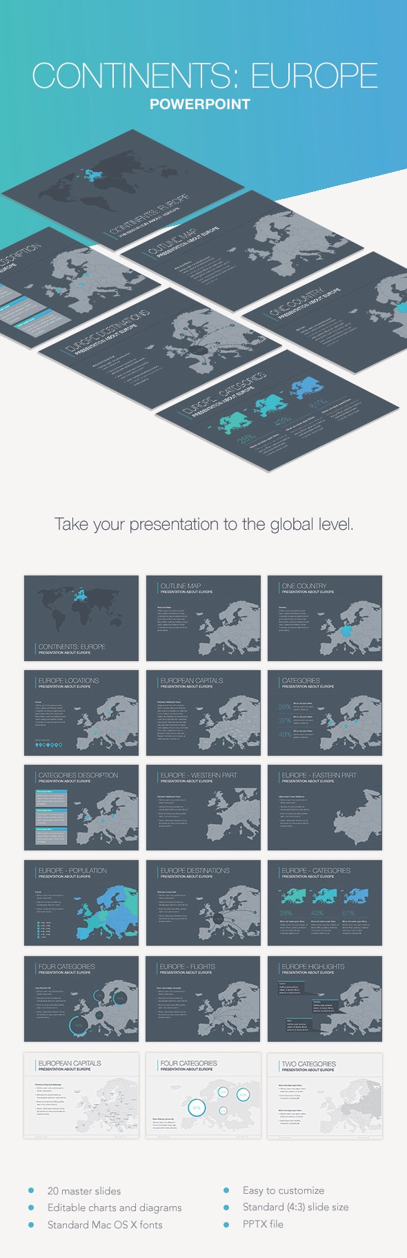 Continents: Europe PowerPoint Template - Keynote Templates Presentation Templates