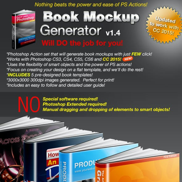 Book Mockup Generator v1.4 Actions & Templates Set