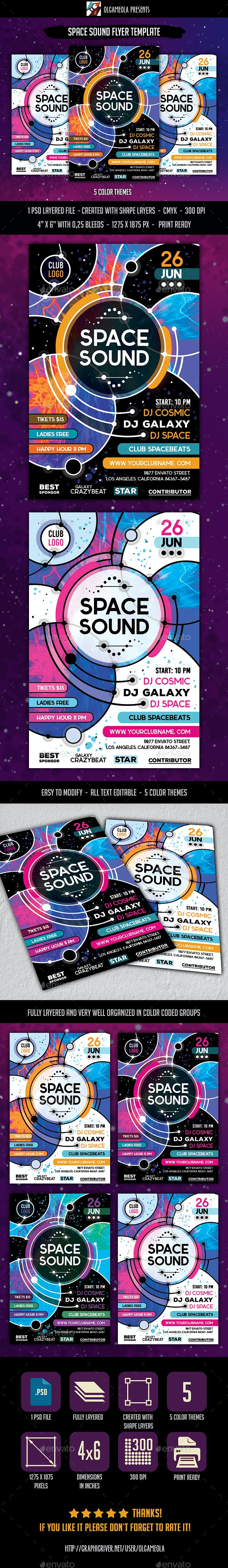 Space Sound Flyer Template - Clubs & Parties Events