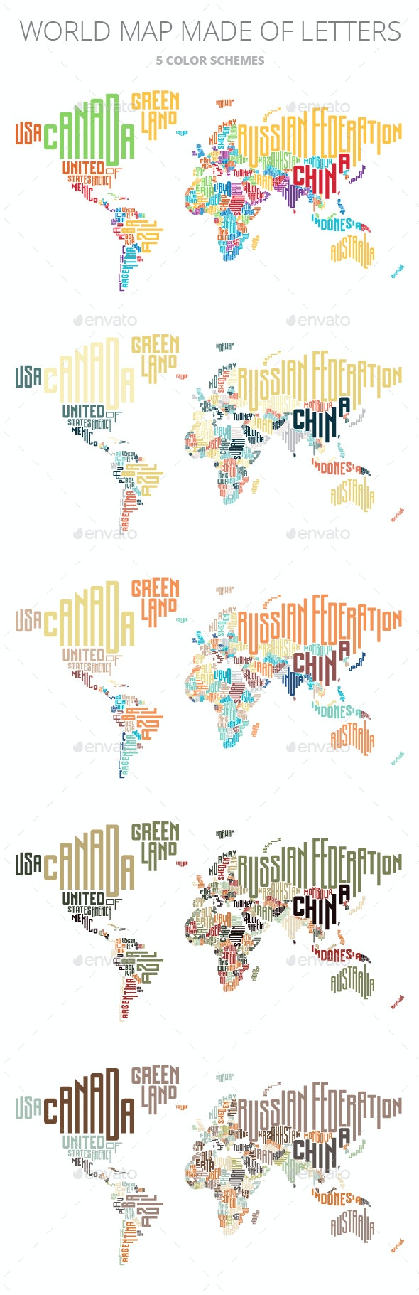 World Map Made of Typographic Country Names - Miscellaneous Conceptual