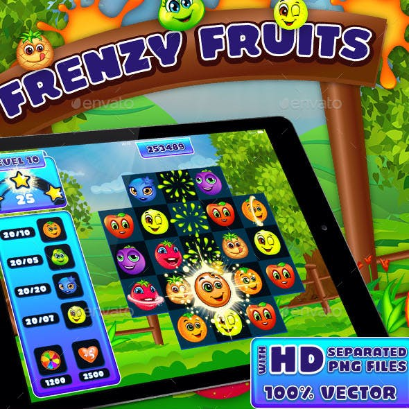 Frenzy Fruits Match-3 Puzzle Game UI Kit