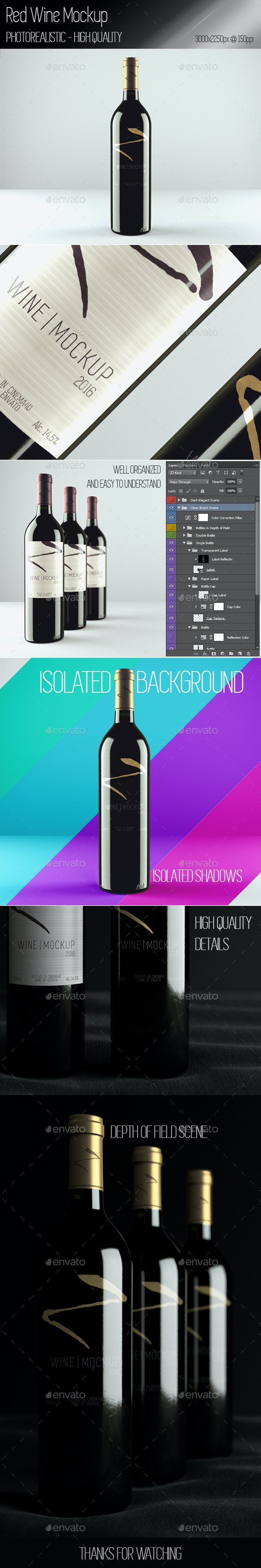 Realistic Red Wine Mockup - Food and Drink Packaging