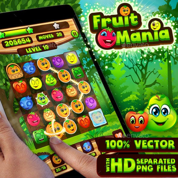 Fruit Mania: Connect Fruits Puzzle Game UI Kit