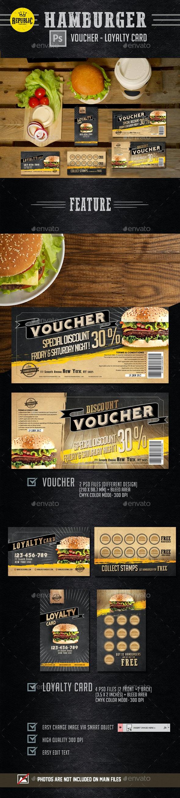 Hamburger Voucher Loyalty Card - Retro/Vintage Business Cards
