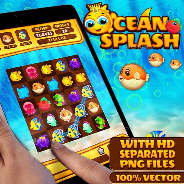 Ocean Splash: Connect Fishes Puzzle Game UI Kit