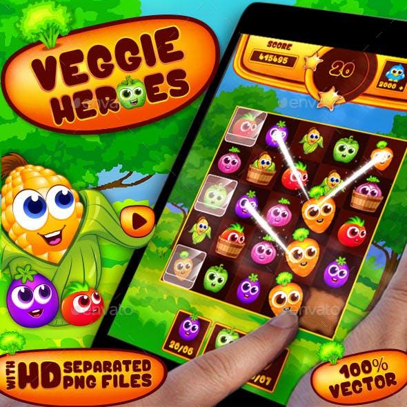 Veggies Heroes Puzzle Game UI Kit