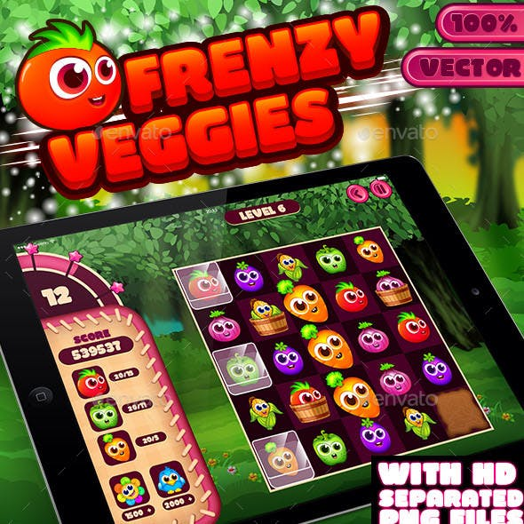 Frenzy Veggies Match-3 Puzzle Game UI Kit