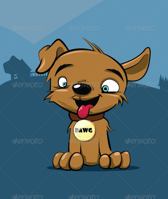 Vector Puppy Dog Illustration - Animals Characters
