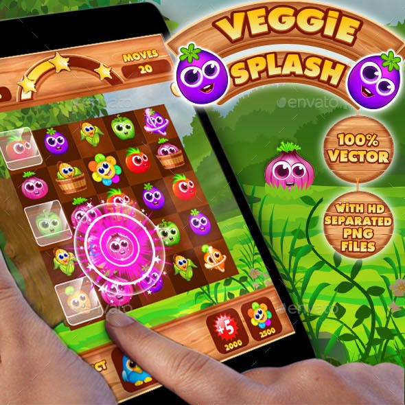 Veggies Splash: Connect Veggies Puzzle Game UI Kit